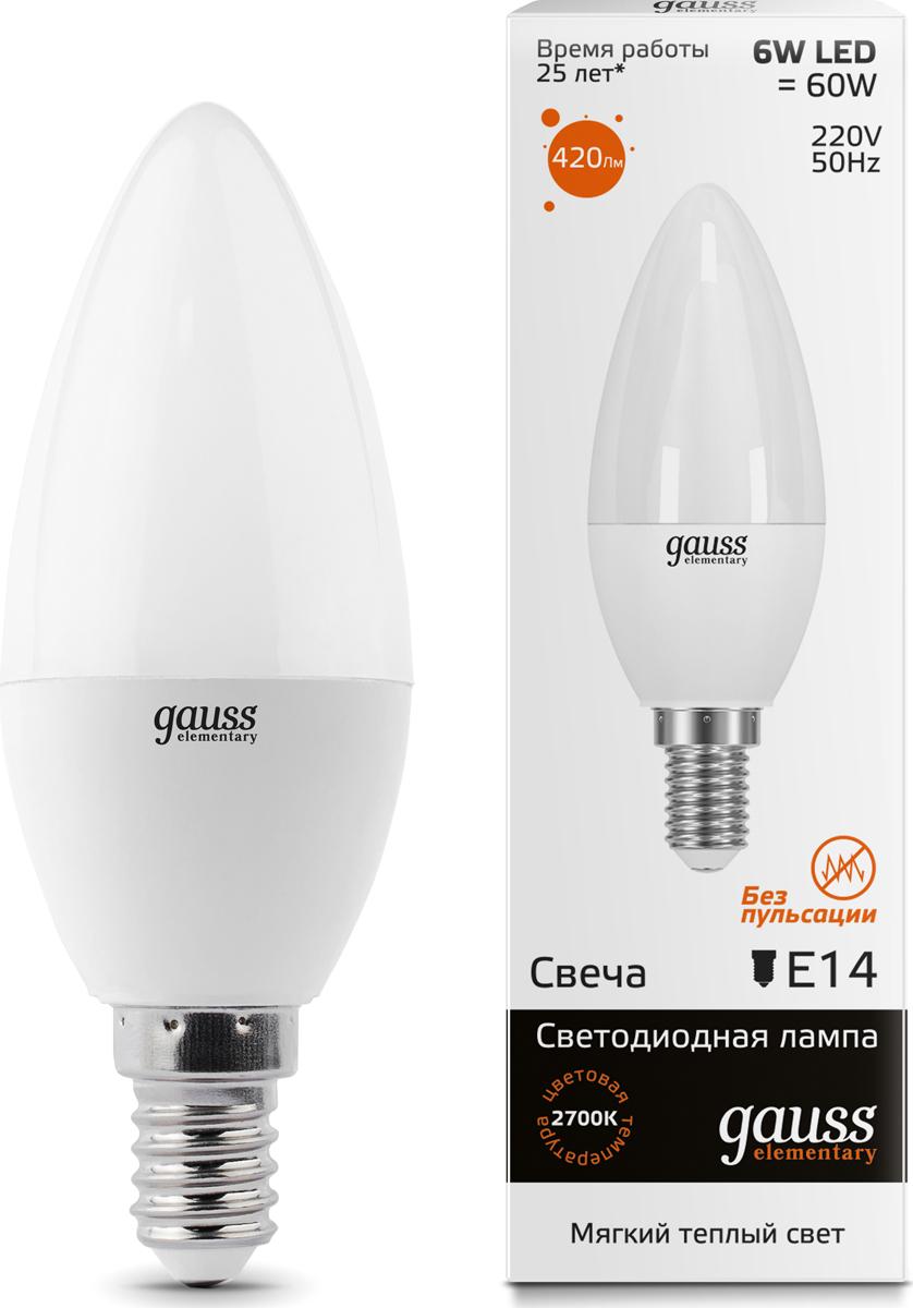 "Лампа светодиодная Gauss ""LED Elementary"", Candle, 6W, E14, 3000K, 1/10/100"