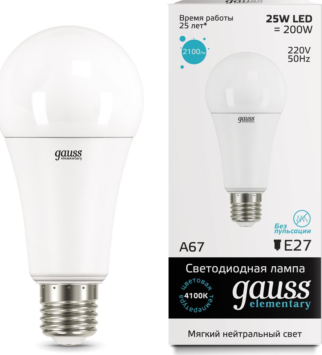 "Лампа светодиодная Gauss ""LED Elementary"", A67, 25W, E27, 4100K, 1/10/50"