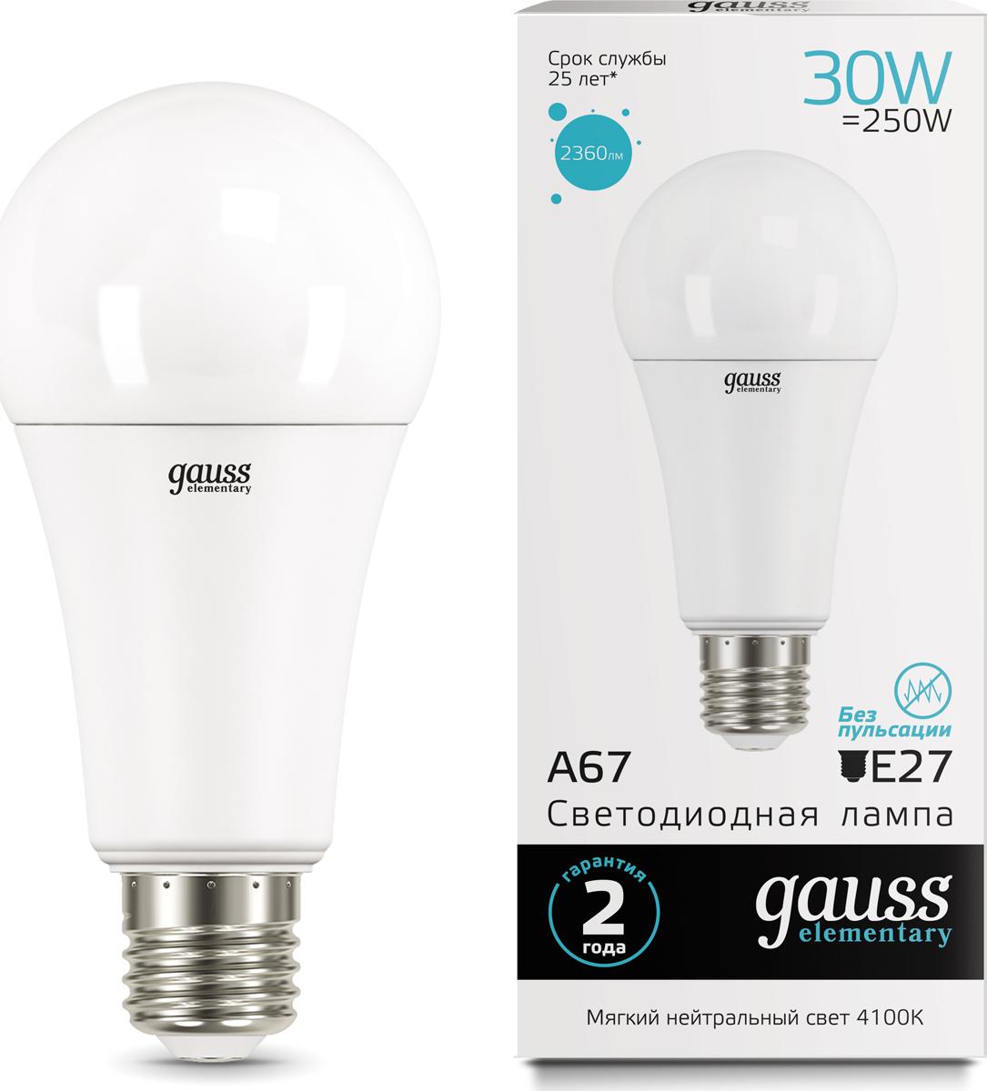 "Лампа светодиодная Gauss ""LED Elementary"", A67, 30W, E27, 4100K, 1/10/50"