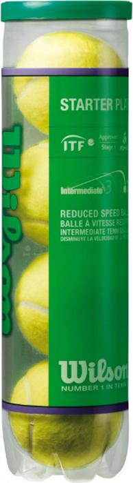 Мячи теннисные Wilson Starter Play Green, 4 шт мячи теннисные wilson tour clay red wrt110800