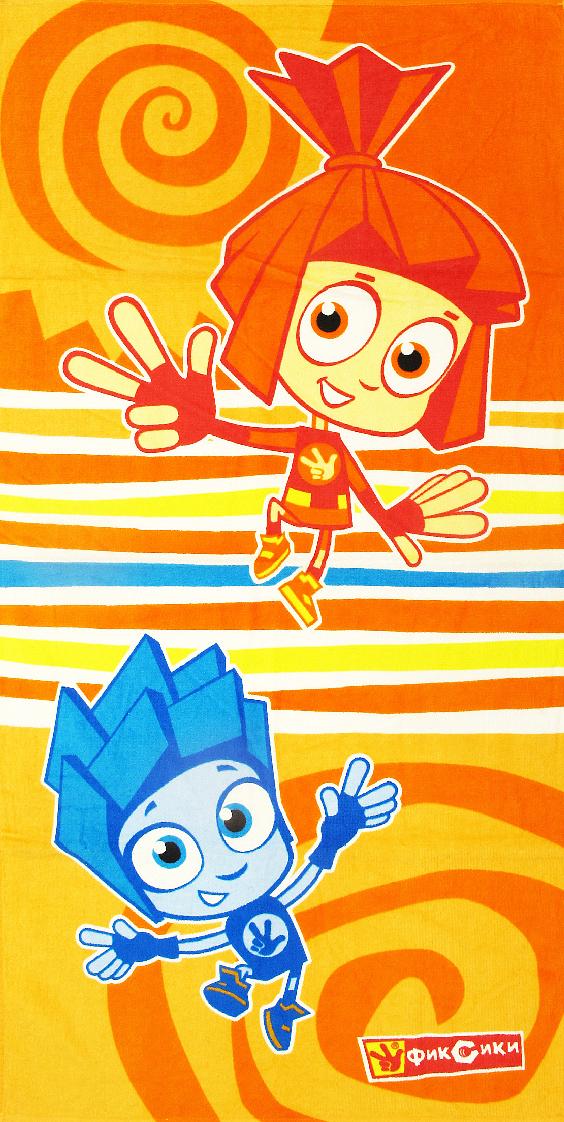 Полотенце махровое Bravo Фиксики. Нолик и Симка, цвет: оранжевый, 60 х 120 см. м1066_13 M полотенце махровое bravo фиксики нолик цвет голубой 60 х 120 см м1079 01 m