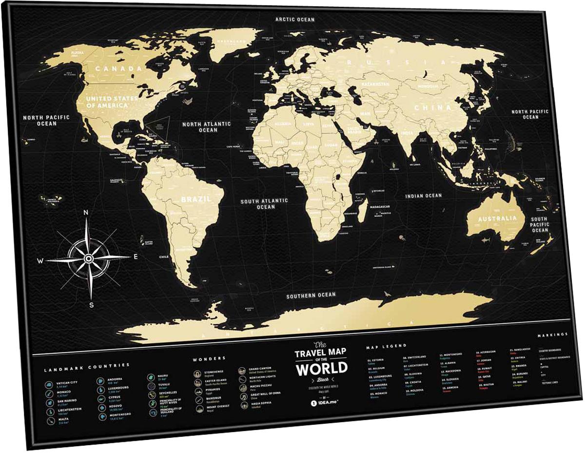 Cкретч карта мира 1DEA.me Travel Map. Black, 80 х 60 см скретч карта мира travel map black world