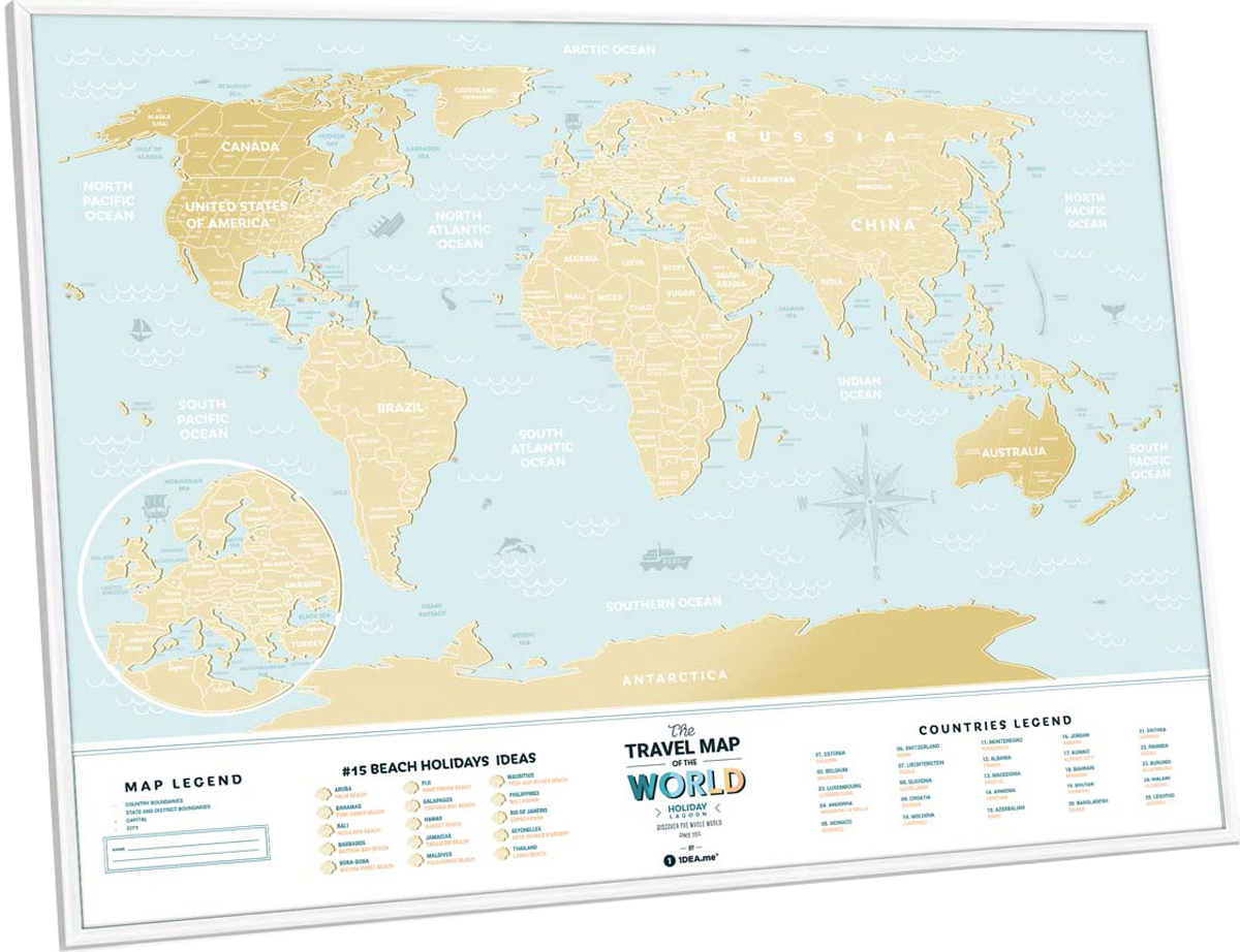 Cкретч карта мира 1DEA.me Travel Map. Holiday Lagoon, 80 х 60 см скретч карта мира travel map black world