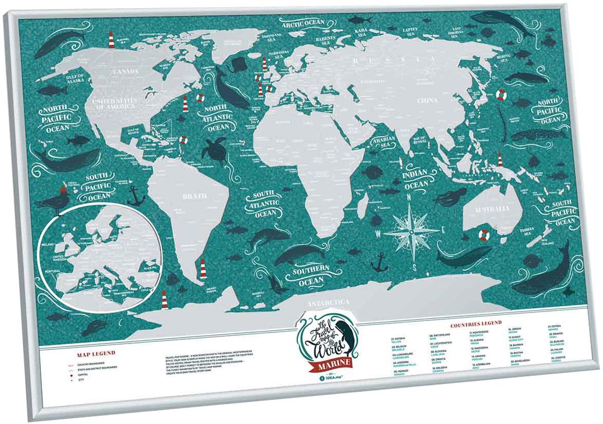 Cкретч карта мира 1DEA.me Travel Map. Marine, 40 х 60 см скретч карта мира travel map black world