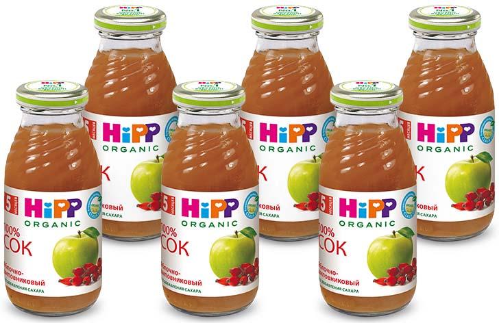 Hipp сок яблочно-шиповниковый, с 5 месяцев, 6 шт по 200 г