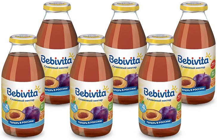 Bebivita нектар сливовый с витамином С, с 4 месяцев, 6 шт по 200 г