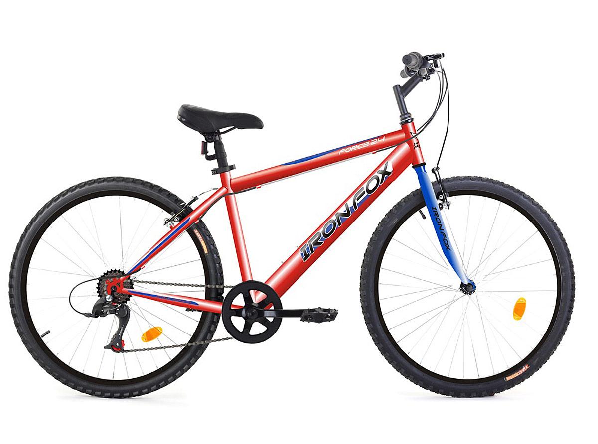 Велосипед горный Iron Fox Force 24, цвет: красный, синий, рама 13.5, колесо 24