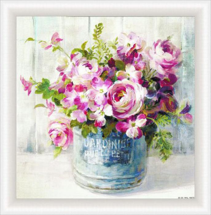 Картина Dekart Розовые цветы 1, 34,5 х 34,5 х 2 см невидимка для волос funny bunny розовые цветы 2 шт