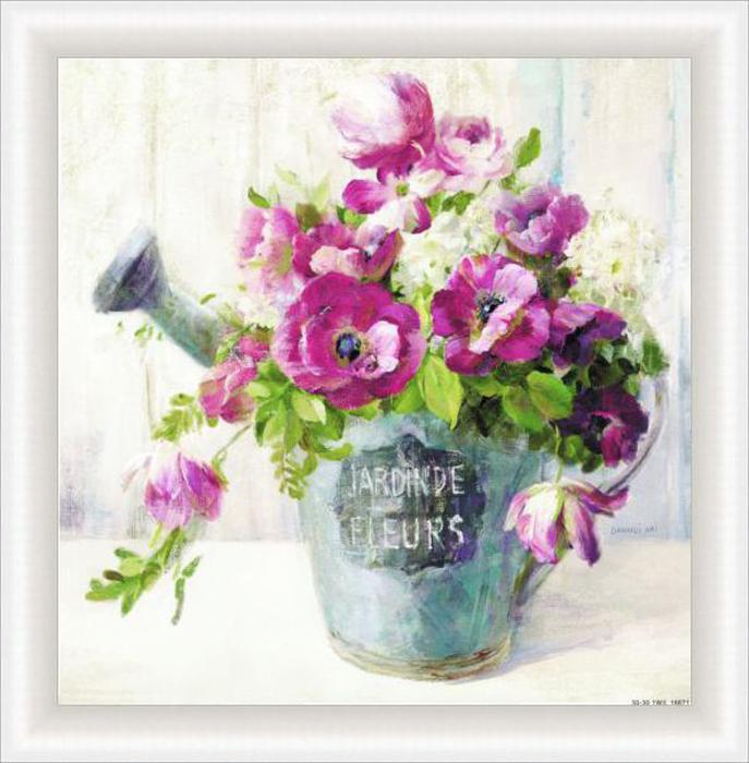 Картина Dekart Розовые цветы 2, 34,5 х 34,5 х 2 см невидимка для волос funny bunny розовые цветы 2 шт