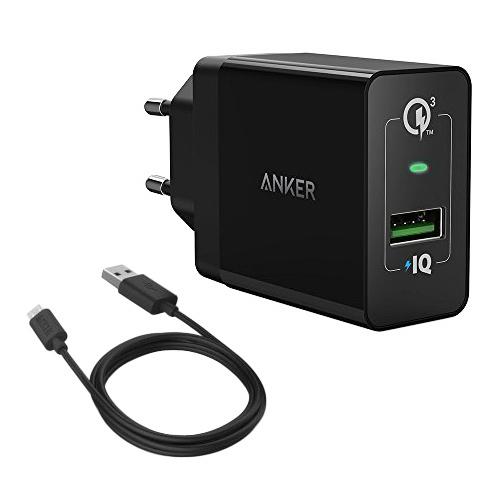 Anker PowerPort QC 3.0 сетевое зарядное устройство + кабель microUSB сетевое зарядное устройство usb anker 24w 2хusb 2х2 4a белое a2021321
