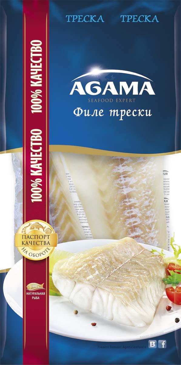 Agama Треска филе без кожи, 400 г agama семга слабосоленая филе с кожей замороженное 200 г