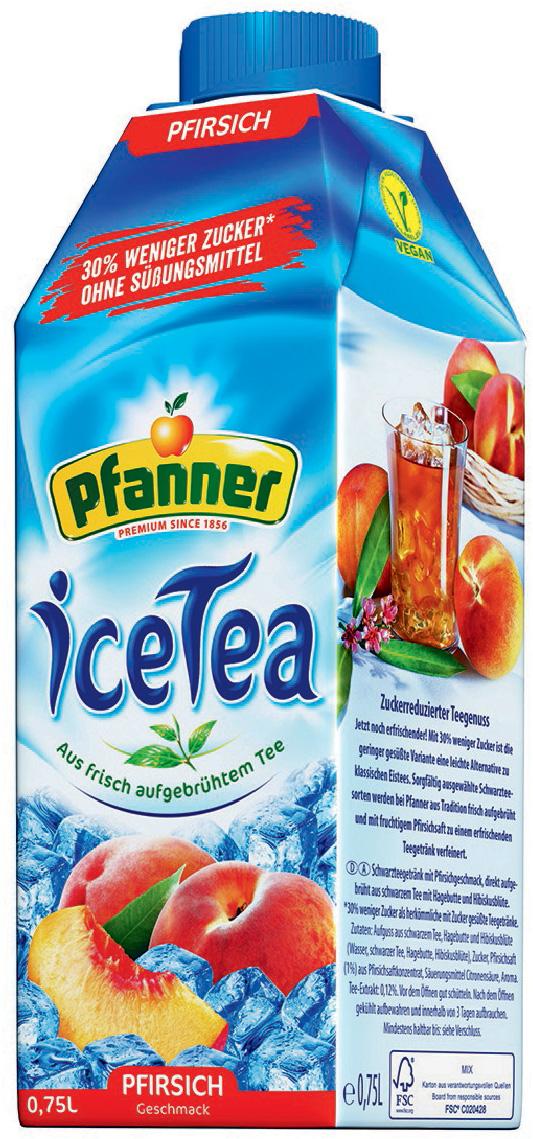 Pfanner Холодный чай Персик с пониженным содержанием сахара, 750 мл pfanner нектар персик 1 л