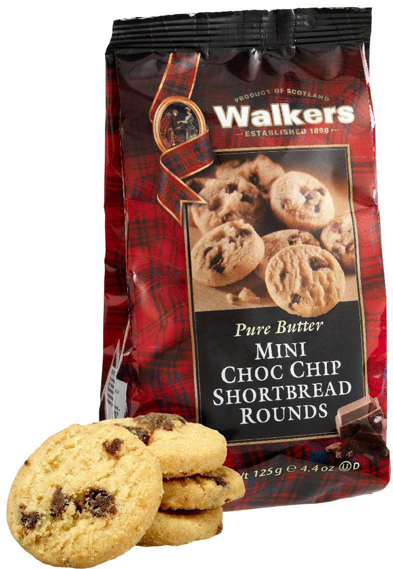 Мини-печенье песочное Круглое с шоколадной крошкой Walkers, 125 г печенье песочное пальчики walkers 40 г