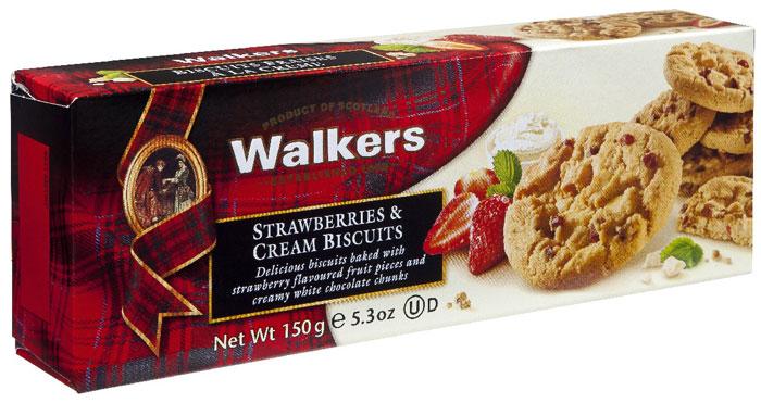 Печенье клубника со сливками Walkers, 150 г печенье песочное пальчики walkers 40 г