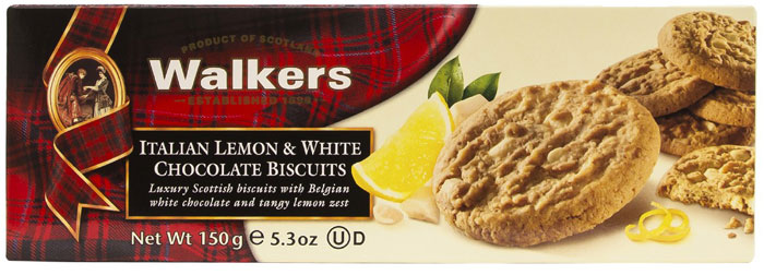 Печенье Итальянский лимон и белый шоколад Walkers, 150 г walkers печенье ананас кокос и белый шоколад 150 г