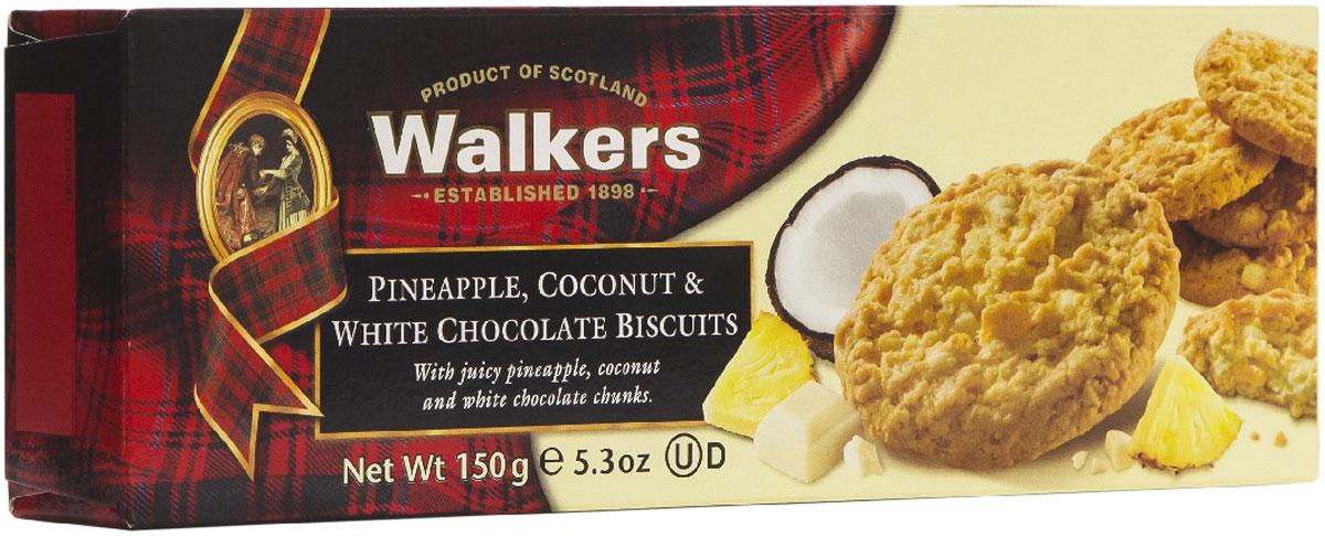 Walkers Печенье ананас, кокос и белый шоколад, 150 г печенье песочное пальчики walkers 40 г