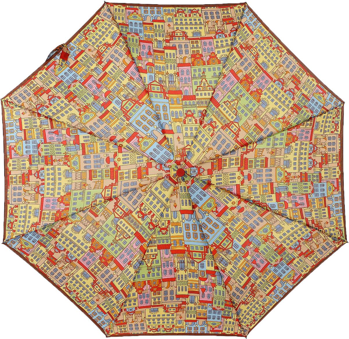 Зонт женский Airton, автомат, 3 сложения, цвет: желтый, красный, голубой. 3915s-121 зонт airton 3917 8028 полный автомат женский