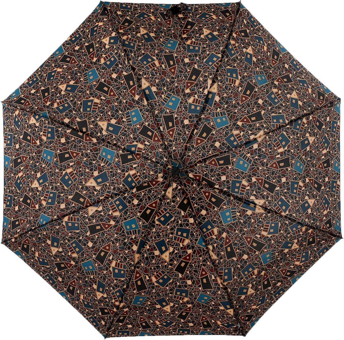 Зонт женский Airton, автомат, 3 сложения, цвет: темно-коричневый, черный, синий. 3915s-145 зонт airton 3917 8028 полный автомат женский