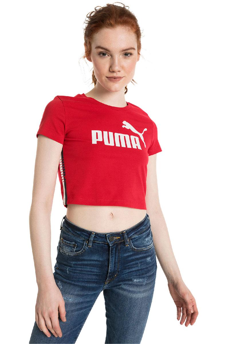 Футболка PUMA Tape Logo Croped Tee contrast tape knot cuff tee