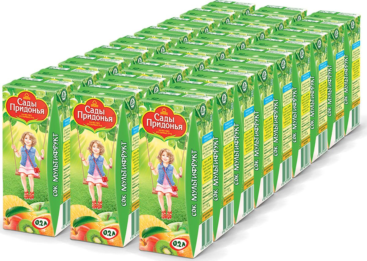 Сок мультифруктовый с мякотью восстановленный с 12 месяцев Сады Придонья, 27 шт по 0,2 л добрый сок яблоко персик 0 2 л
