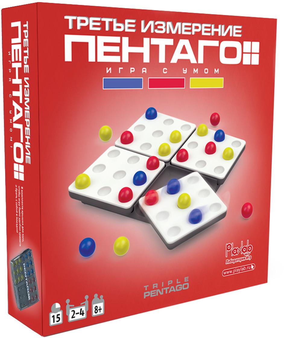 PlayLab Настольная игра Пентаго Третье ИзмерениеM6258Фишка игры - динамическое игровое поле, как у классической Пентаго. Задача - сложить линию из 5 шариков, но линия будет не одноцветная, а из шариков 3 цветов. В Пентаго Третье Измерение появились карточки с заданиями, теперь можно играть не вдвоем, а втроем и вчетвером! Игра №1 Блиц: Нужно быстрее соперников собрать карточку-задание текущего раунда. После того, как один из игроков получает указанную на карточке комбинацию из 5 шариков, он забирает эту карточку себе. Затем открывается новая карточка и игра продолжается! Выигрывает тот, у кого в конце игры окажется больше всего карточек. Игра №2 На выбывание: Перемешайте колоду и возьмите одну или несколько карт в зависимости от количества игроков. Для 2 игроков: переверните одну карту, для 3 - 2 карты и для 4 - три карты. Расположите выбранные карты лицом вверх в центре стола, так, чтобы каждый игрок мог видеть задания. Цель игры- построить 1 из узоров, изображенных на открытых картах-заданиях. Игроки могут собирать любой из еще не собранных узоров, изображенных на открытых картах. Если вы собрали узор, который соответствует изображению на одной из карт, то игрок, ходивший перед вами, выбывает из игры. Побеждает тот, кто остался в игре последним, когда все остальные выбыли. Игра №3 Каждый сам за себя: Раздайте каждому игроку по одной карте-заданию с узором, который он должен собрать. Тот, кто первым собрал свой узор, побеждает! Название игры Пентаго, соответствует по значению греческому слову pente - пять. Пентаграмм...