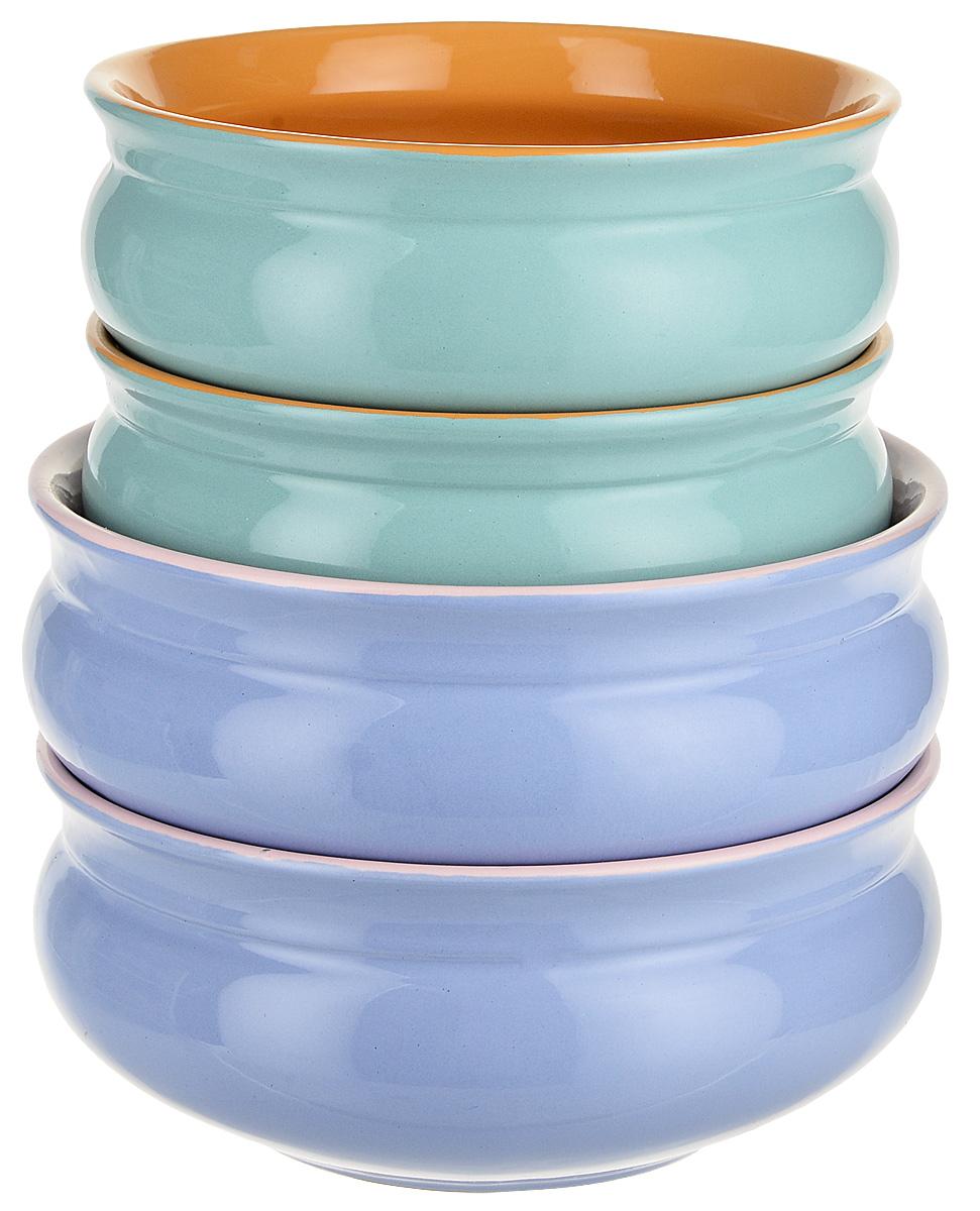 Набор тарелок Борисовская керамика Скифская, цвет: мятный, голубой, 4 шт набор тарелок борисовская керамика скифская цвет серый хаки 4 шт