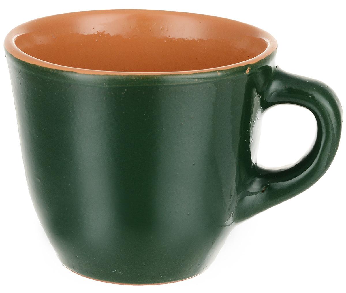 """Чашка чайная Борисовская керамика """"Радуга"""", цвет: темно-зеленый, 300 мл"""