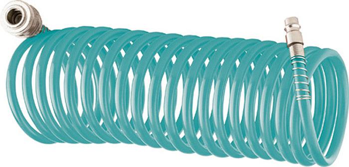 Шланг поливочный Stels, цвет: зеленый, длина 15 м. 5700957009Шланг спиральный воздушный Stels изготовлен из сырья BASF. Оснащен быстросъемными соединениями с антикоррозийным покрытием. Используется для соединения компрессора с различными насадками.