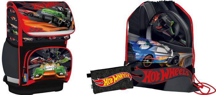 Hot Wheels Рюкзак детский цвет серый красный + мешок для обуви + пенал