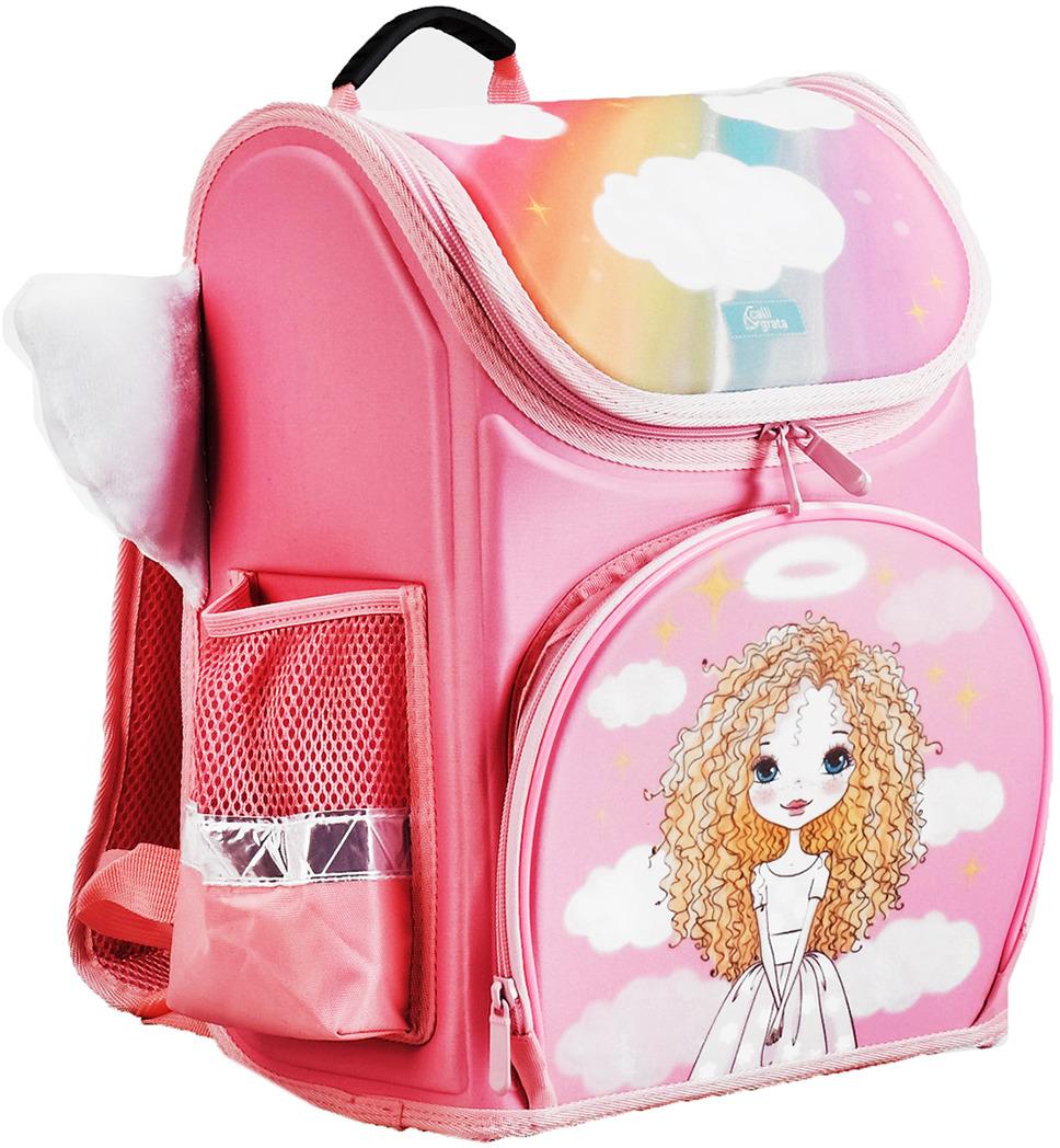 Calligrata Ранец школьный Ангел3295783Ранец — это жёсткая ученическая сумка, которая является традиционным атрибутом школьного снаряжения. Жёсткий корпус защитит ребёнка и содержимое: он не позволит книгам и учебникам втыкаться в спину и сбережёт рюкзак, если ученик его уронит. А смягчающие элементы (поролон и сетка) сделают процесс ношения этого предмета комфортным.