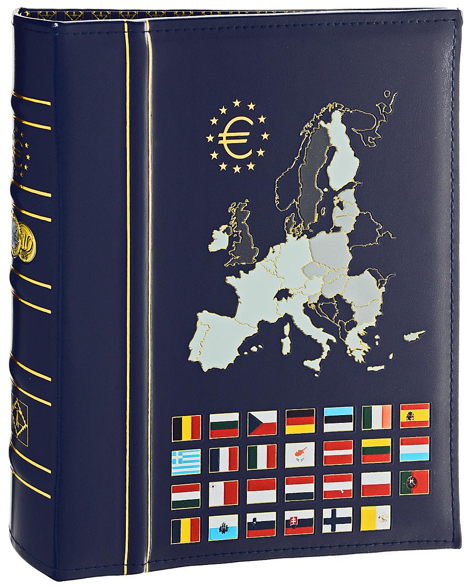 Альбом Leuchtturm Euro-Classic, без футляра, без листов411825Альбом выполнен в твердом переплете прекрасно подходит для хранения монет, банкнот, почтовых карточек. Обложка обтянута искусственной кожей темно-синего цвета и оформлена рисунком. Удобная и надежная 4-кольцевая механика позволит легко вкладывать и доставать листы. Альбом является незаменимой принадлежностью коллекционера, предназначенной как для размещения коллекции марок и монет, так и для транспортировки коллекционного материала.