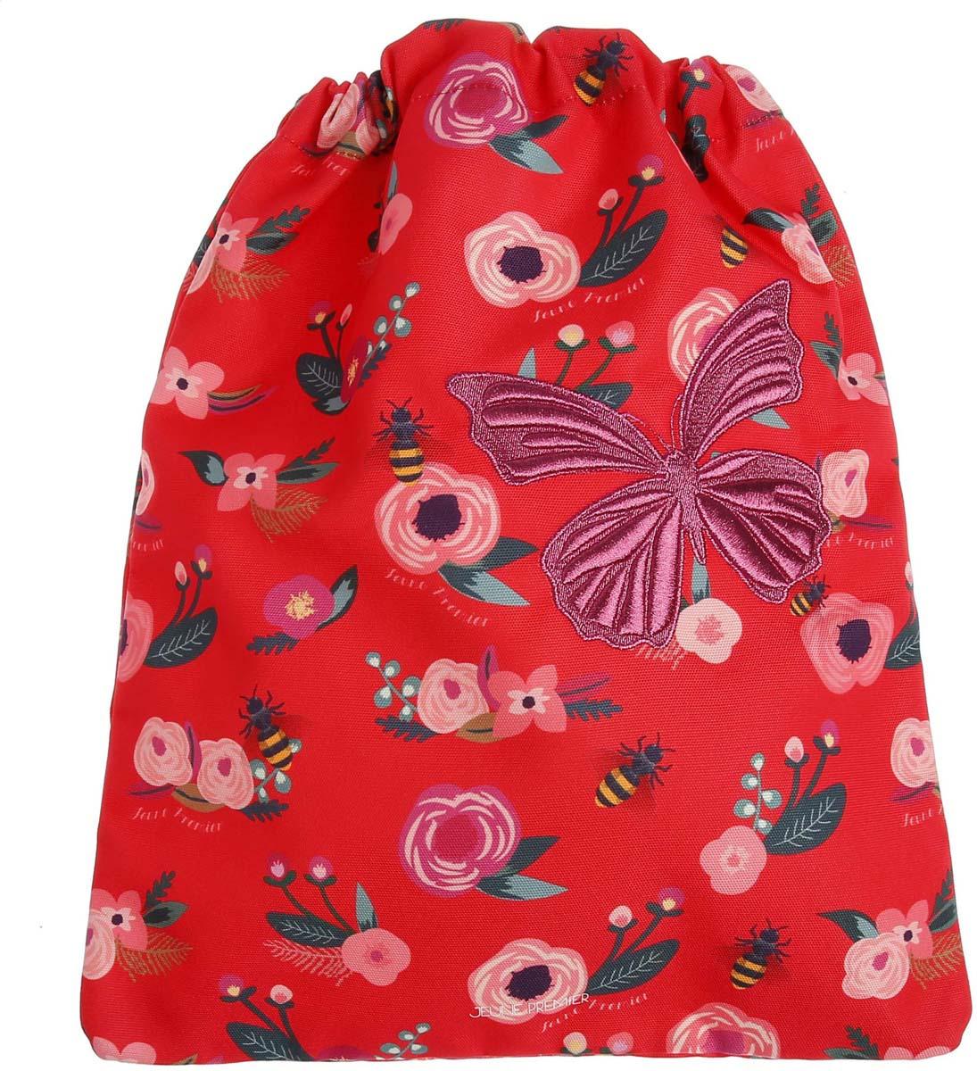 Сумка для сменной обуви и одежды Jeune Premier Цветы с бабочкой, 35,5 х 43 см цена