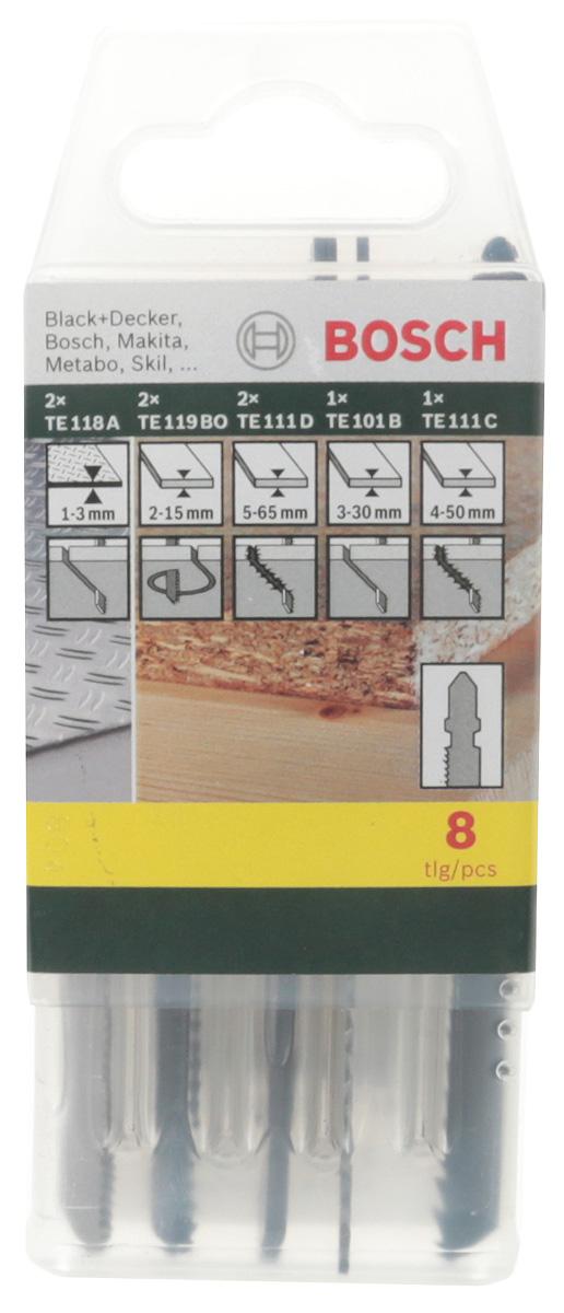 Набор пилок по дереву, металлу, пластмассе Bosch, Т-образный хвостик, 8 шт