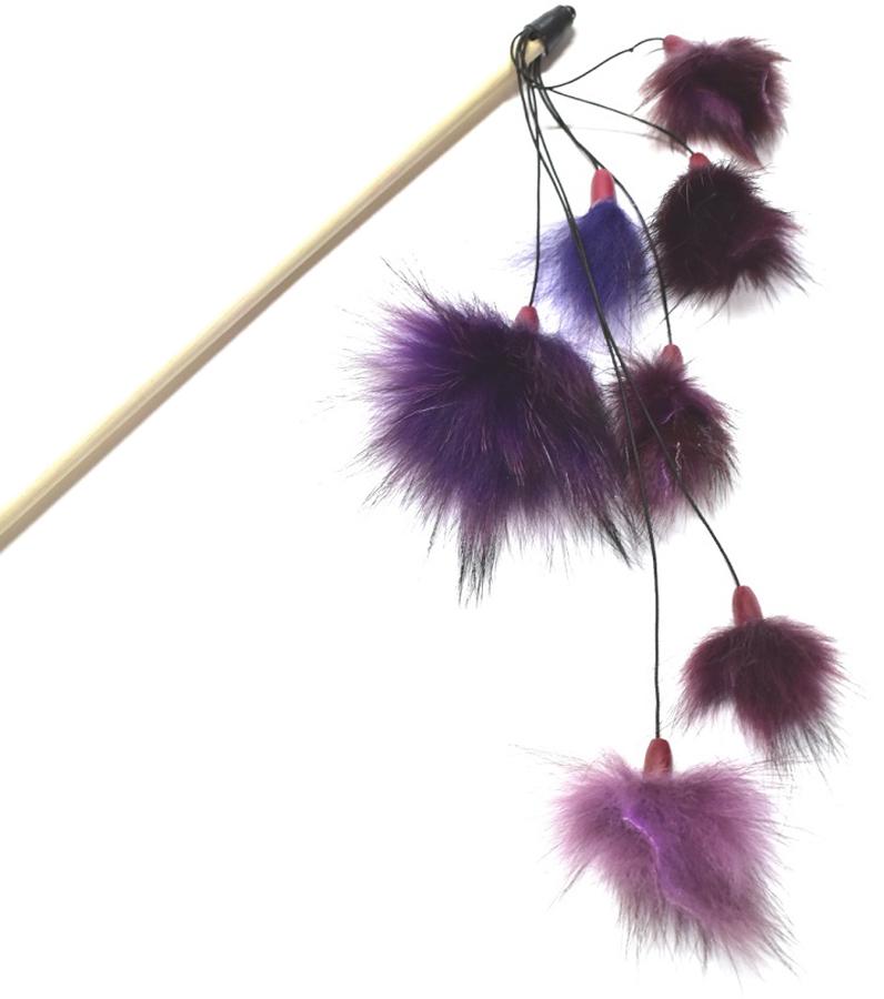 Игрушка-дразнилка для кошек GLG Меховой дождик, цвет в ассортименте, длина 42 см игрушка дразнилка для кошек glg боа с бубенчиками цвет зеленый длина 60 см
