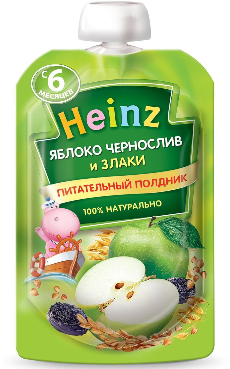 Пюре Heinz из яблок и чернослива со злаками, с 6 месяцев, 90 г