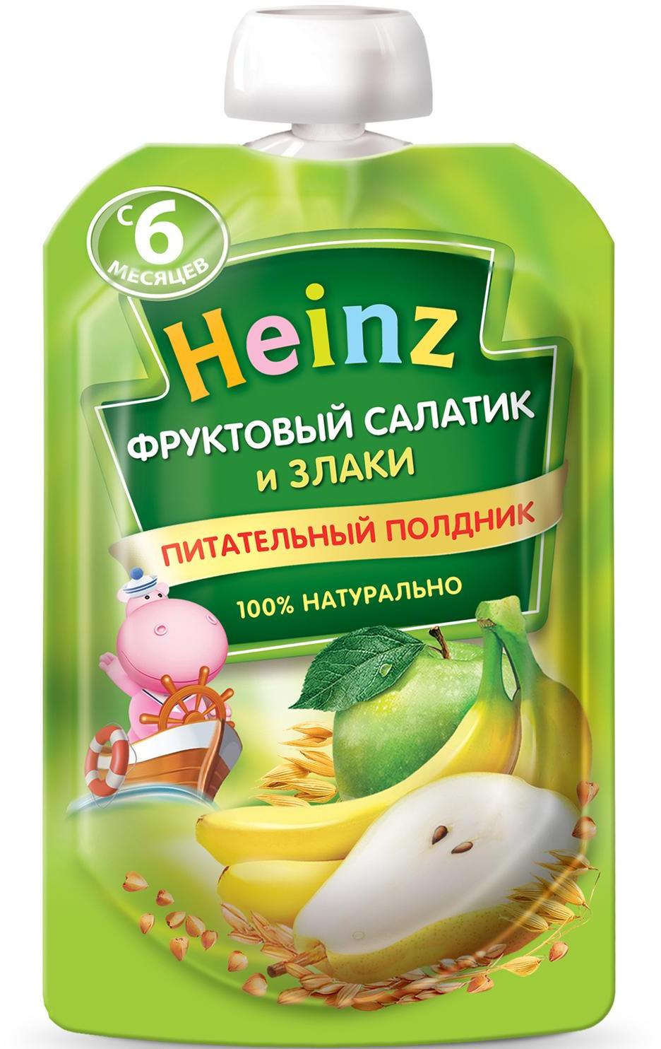 Пюре Heinz фруктовый салатик со злаками, с 6 месяцев, 90 г