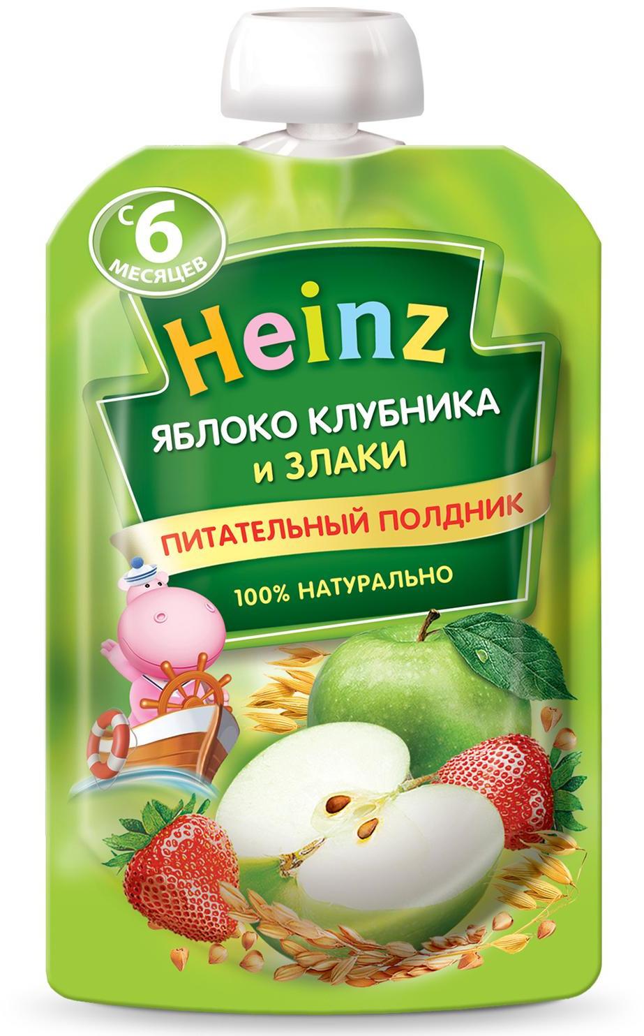 Пюре Heinz из яблок и клубники со злаками, с 6 месяцев, 90 г