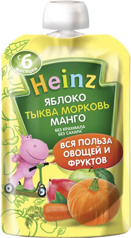 Пюре Heinz из яблок, тыквы, морковки и манго, с 6 месяцев, 90 г