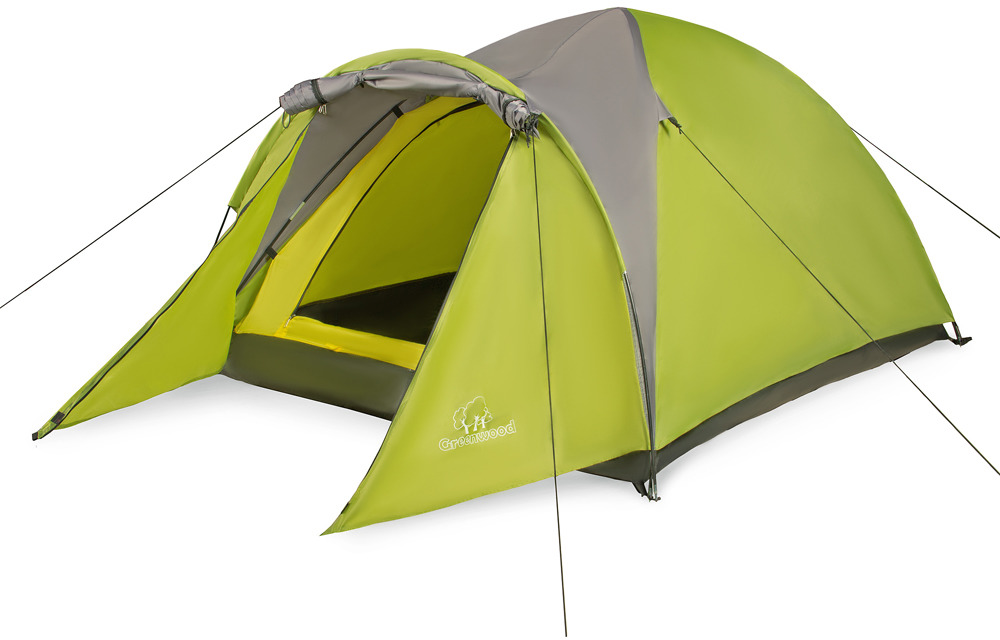 Палатка Greenwood Target 2, 2-местная, цвет: зеленый, серый