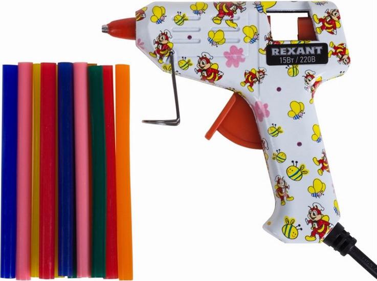 Пистолет клеевой Rexant, с набором цветных стержней пистолет клеевой dremel 910 для стержней 7 мм