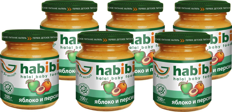 Пюре Яблоко и персик с сахаром Habibi, с 5 месяцев, 6 шт по 100 г