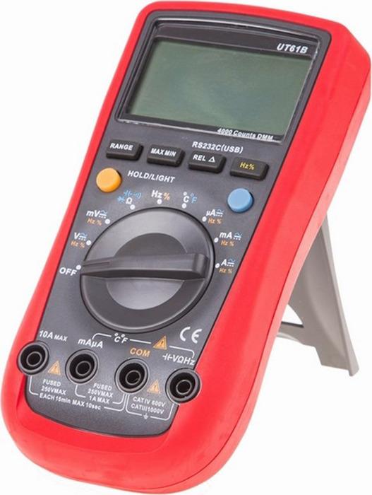 Мультиметр профессиональный Uni-T UT61B13-1016UT61B - это профессиональный мультиметр с современным и эргономичным дизайном. Предназначен прибор, для измерений постоянного и переменного напряжения, сопротивления, постоянного и переменного тока. Кроме того он имеет функции измерения электрической емкости и частоты, а так же с его помощью вы сможете тестировать диоды и проводить прозвонку целостности цепи. Данный прибор обладает высоким классом точности показаний. Дисплей прибора оснащен подсветкой, которая позволяет проводить измерения даже в слабоосвещенных местах. Широкий функционал мультиметра UT61D позволяет обходиться без других вспомогательных устройств. Прибор оснащен функцией Data hold, и зафиксировав результат измерений, вы в любое время сможете считать полученный значение. Прибор изготовлен из высококачественных материалов. Калибровка и тестирование приборов произведено под контролем компании REXANT INTERNATIONAL. Инженеры старались сделать прибор максимально удобным для использования, и сужение в нижней области корпуса позволяет удобнее располагать прибор в одной руке, а шероховатость корпуса предотвращает выскальзывание. Все переключения удобно производить даже одной рукой. Мультиметр имеет разъем для подключения к ПК что делает возможным проводить мониторинг и анализ полученных результатов. UT61B имеет функцию автоматического выбора пределов измерений. В отличие от устаревших моделей, где вам приходилось вручную выставлять пределы, сейчас же нужно всего лишь выбрать какой из параметров вы собираетесь измерять... Рекомендуем!