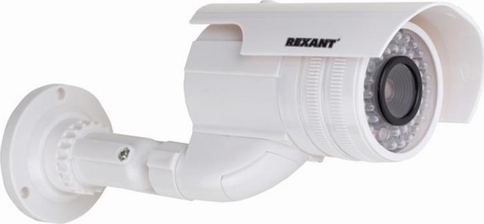 Муляж уличной камеры наблюдения Rexant 45-0240, White муляж камеры видеонаблюдения orient ab dm 25w купольная led мигает для наружного наблюдения