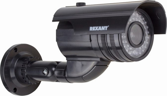 Муляж уличной камеры наблюдения Rexant 45-0250, Black муляж камеры видеонаблюдения orient ab dm 25w купольная led мигает для наружного наблюдения