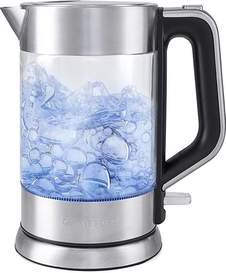 Электрический чайник Kitfort КТ-617КТ-617Электрический чайник Kitfort КТ-617 предназначен для кипячения воды дома, в офисах и на дачах. Мощность чайника позволяет использовать его в домах со слабой проводкой. В носик чайника встроен фильтр. Корпус чайника Kitfort КТ-617 выполнен из стекла, а крышка и подставка — из сочетания пластмассы и нержавеющей стали. Мерная шкала нанесена на прозрачную часть корпуса. Большое горлышко чайника облегчает доступ внутрь при мытье и во время удаления накипи. Ручка чайника пластиковая, не нагревается и удобно лежит в руке. Кнопка открывания крышки расположена сверху на ручке, а кнопка включения — внизу. При включении чайника загорается синяя подсветка, которая является индикатором работы и одновременно художественно подсвечивает кипящую воду. Нагревательный элемент (ТЭН) у этой модели чайника скрытый и находится в дне. Сверху он закрыт специальной металлической пластиной из нержавеющей стали, благодаря которой исключается прямой контакт ТЭНа с водой. Такая конструкция препятствует образованию накипи, облегчает уход и значительно снижает шум при нагревании воды. Подставка с центральным контактом дает возможность ставить чайник на нее в любом положении, обеспечивая вращение на 360°. Снизу имеется отсек для хранения шнура, в который можно смотать излишки шнура электропитания, чтобы он не мешался на столе. Ножки подставки противоскользящие. Чайник автоматически отключается при закипании и при снятии с подставки, имеет защиту от перегрева и от включения без воды. Рекомендуем!