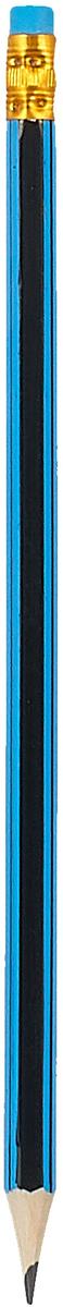 Calligrata Карандаш чернографитный Полоски с ластиком твердость HB цвет корпуса черный синий карандаш чернографитный с ластиком твердость нв цвет корпуса черный желтый