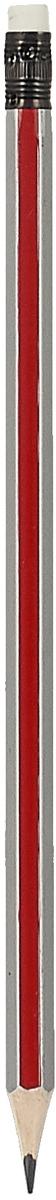 Calligrata Карандаш чернографитный Полоски с ластиком твердость HB цвет корпуса красный серый карандаш чернографитный с ластиком твердость нв цвет корпуса черный желтый