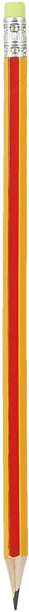 Calligrata Карандаш чернографитный Полоски с ластиком твердость HB цвет корпуса желтый оранжевый карандаш чернографитный с ластиком твердость нв цвет корпуса черный желтый