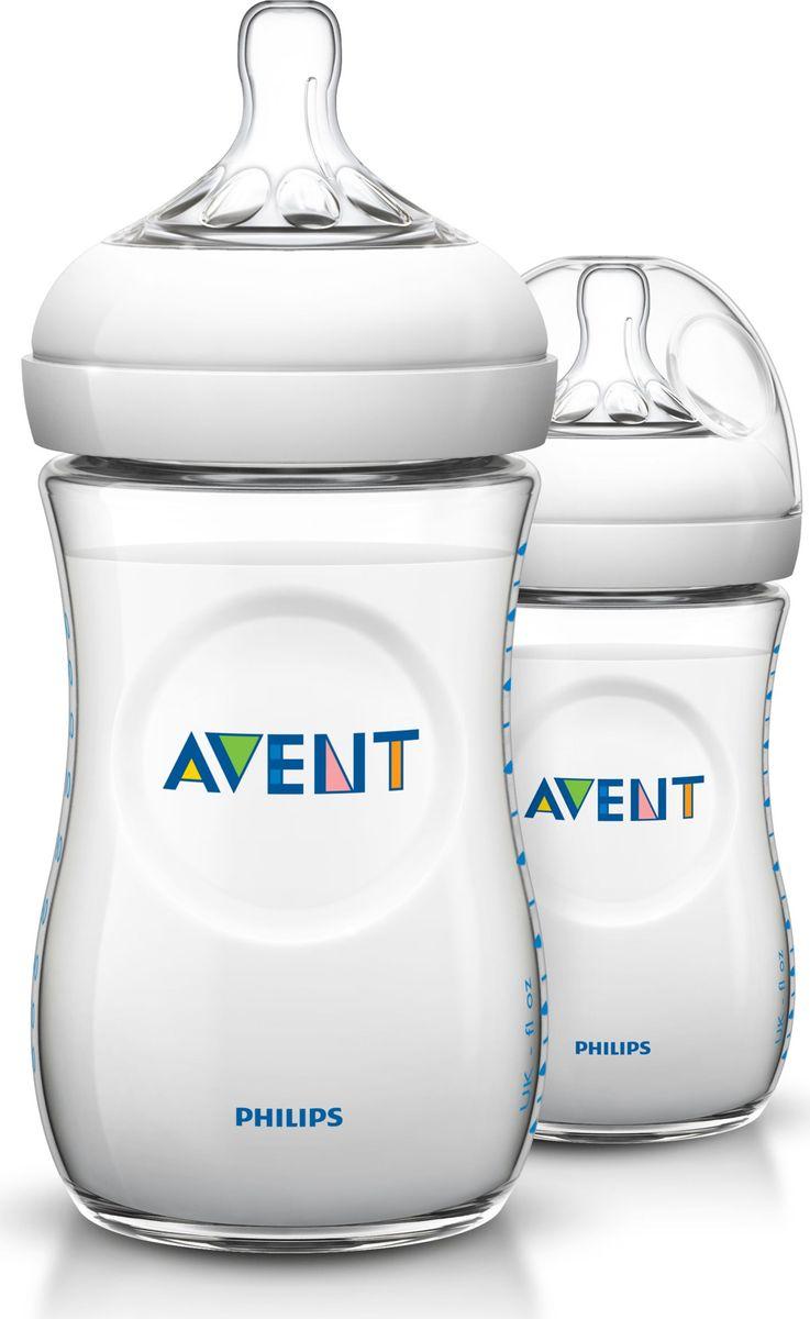 Бутылочка для кормления Philips Avent. Natural, от 1 месяца, 260 мл, 2 шт. SCF693/27 philips avent бутылочка для кормления standard от 0 до 6 месяцев 125 мл scf970 17