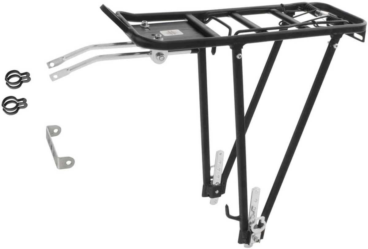 Багажник для велосипедов M-Wave, 24/26/28, универсальный алюминиевый, с прижимным устройством, черный
